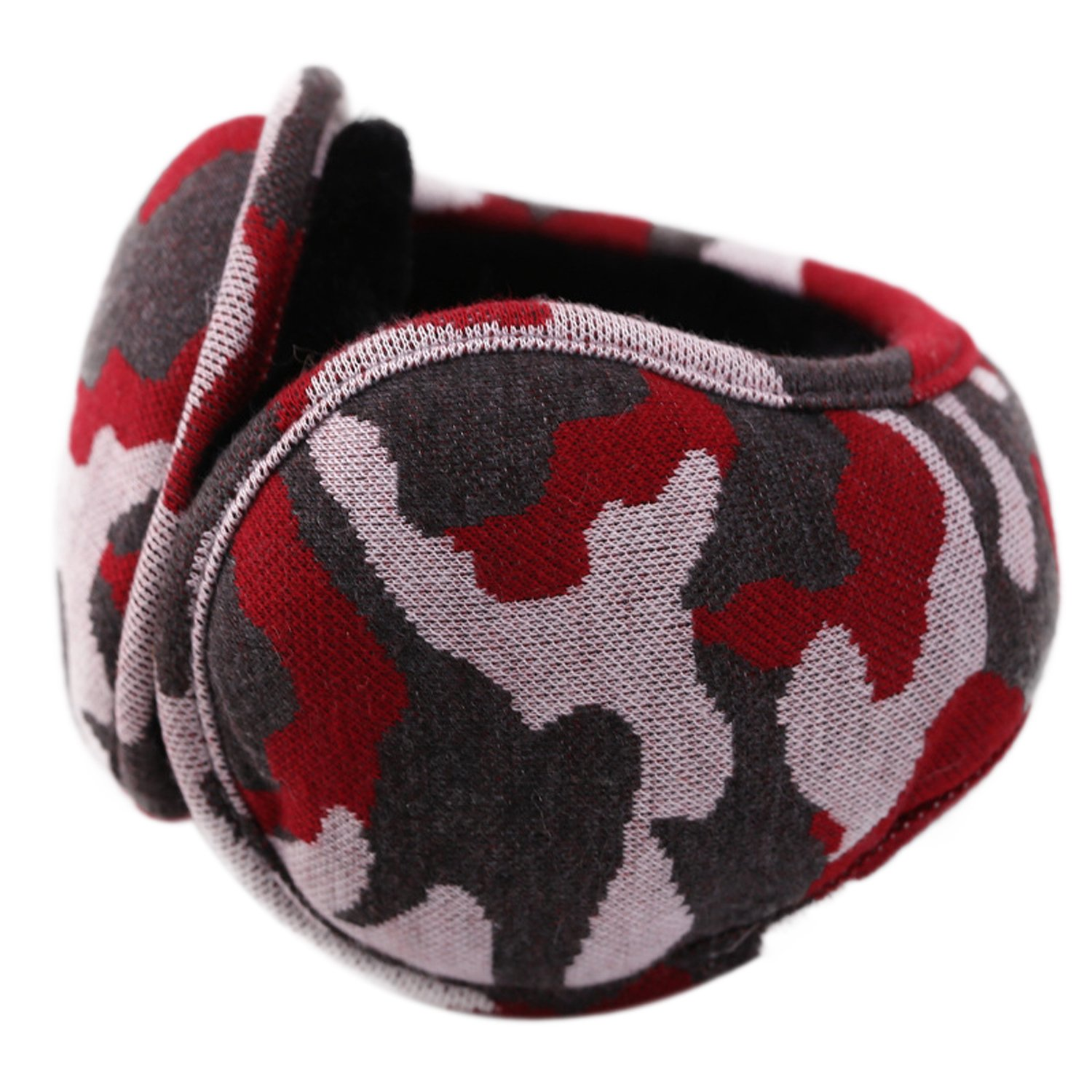 Brave Tour Unisex Earmuffs Simple Camouflage Earmuffs Lined Compact Winter Warm Earmuffs(camou-red)