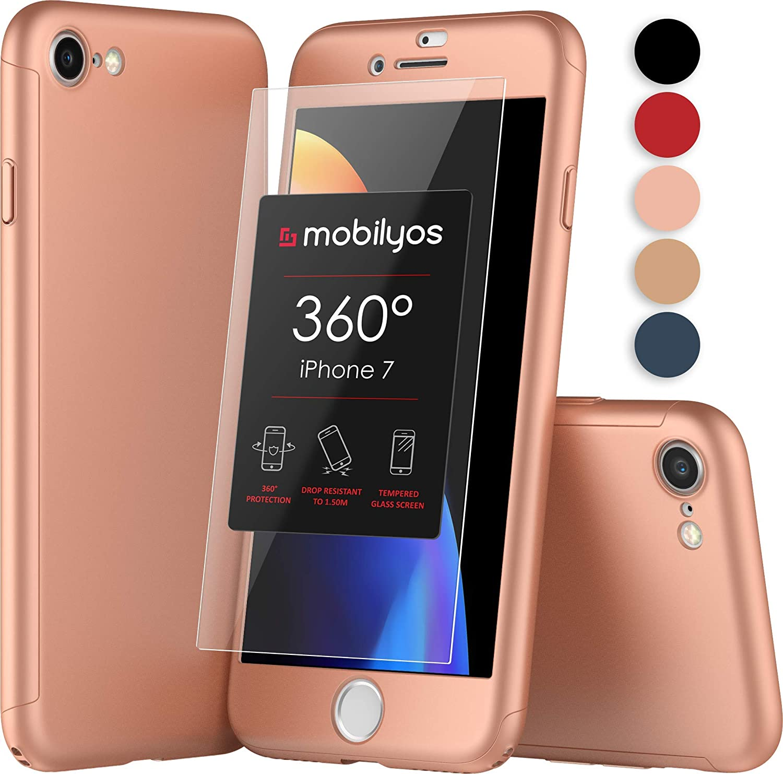Funda iPhone 7 360 Grados con (2-Piezas) Cristal Templado para Apple iPhone 7, Carcasa Integral con Protector de Pantalla - Protección Completa ...