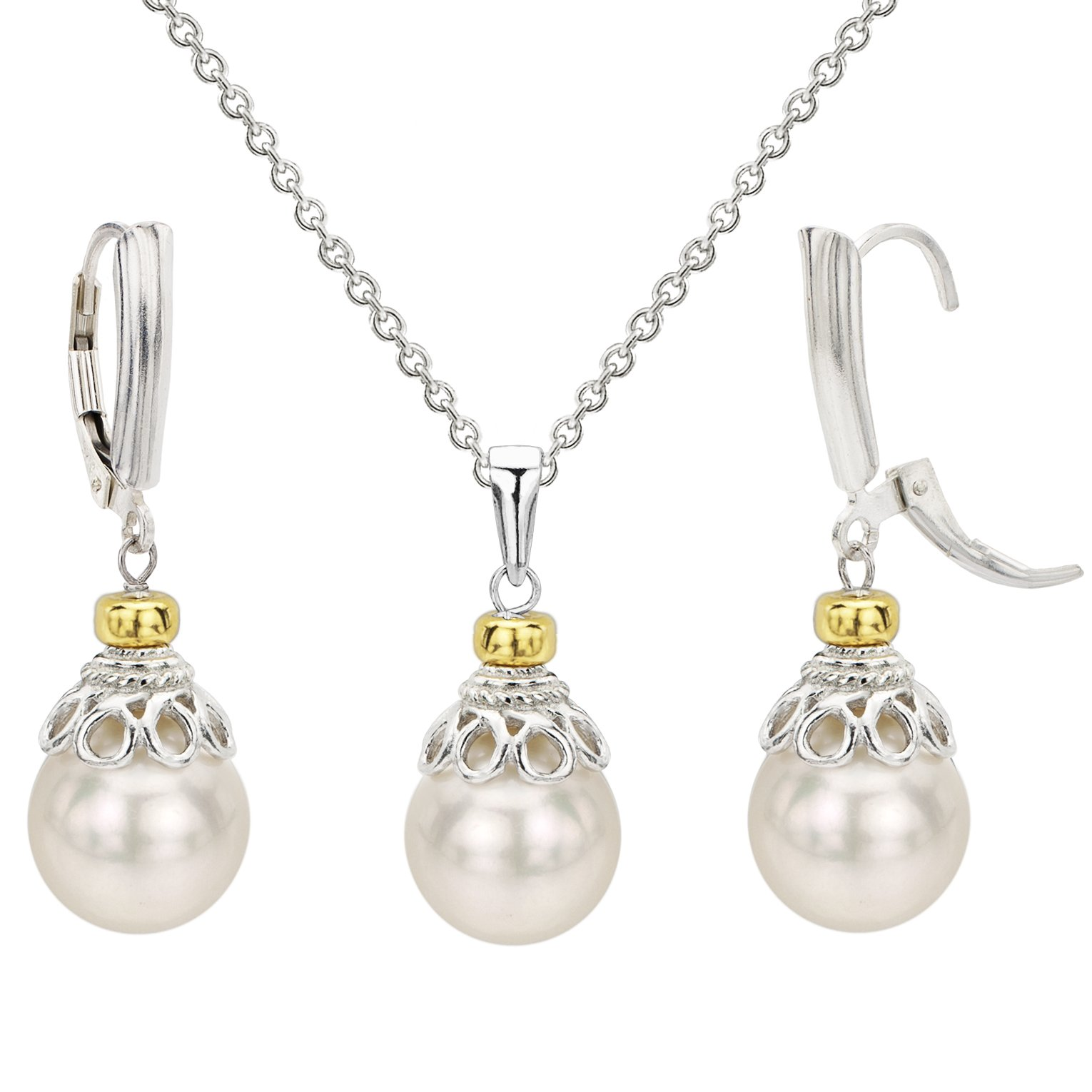 Sterling Silver 10-10.5mm White Freshwater Cultured Pearl Pendant Chain and Lever-back Earrings Set
