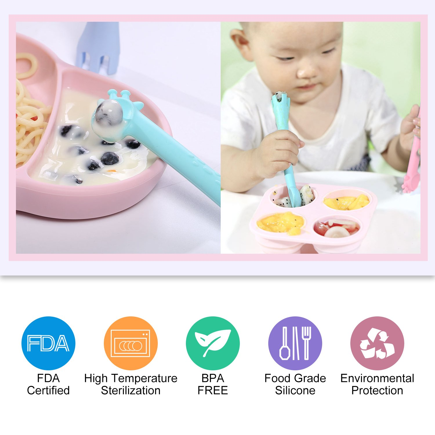 Kitdine Baby Spoons Silicone Giraffe Spoon BPA Free for Baby Feeding and Infant Weaning Teething Toys Training Forks Spoons Set of Two (Pink&Green)