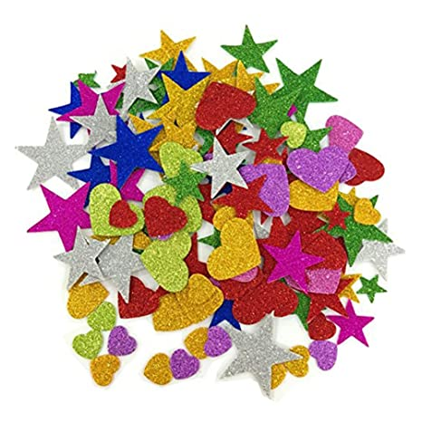 Glitter Schaumstoff Sticker Selbstklebendes Stern-Miniherz-dekorativer Aufkleber für Wand-DIY Fertigkeit-Verzierung Satz von