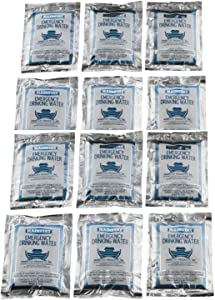 Mainstay Emergency Water Pouch for Disaster or Survival, 6 Day Ration, 12 Packs, 4.225 fl oz (125 ml) Each