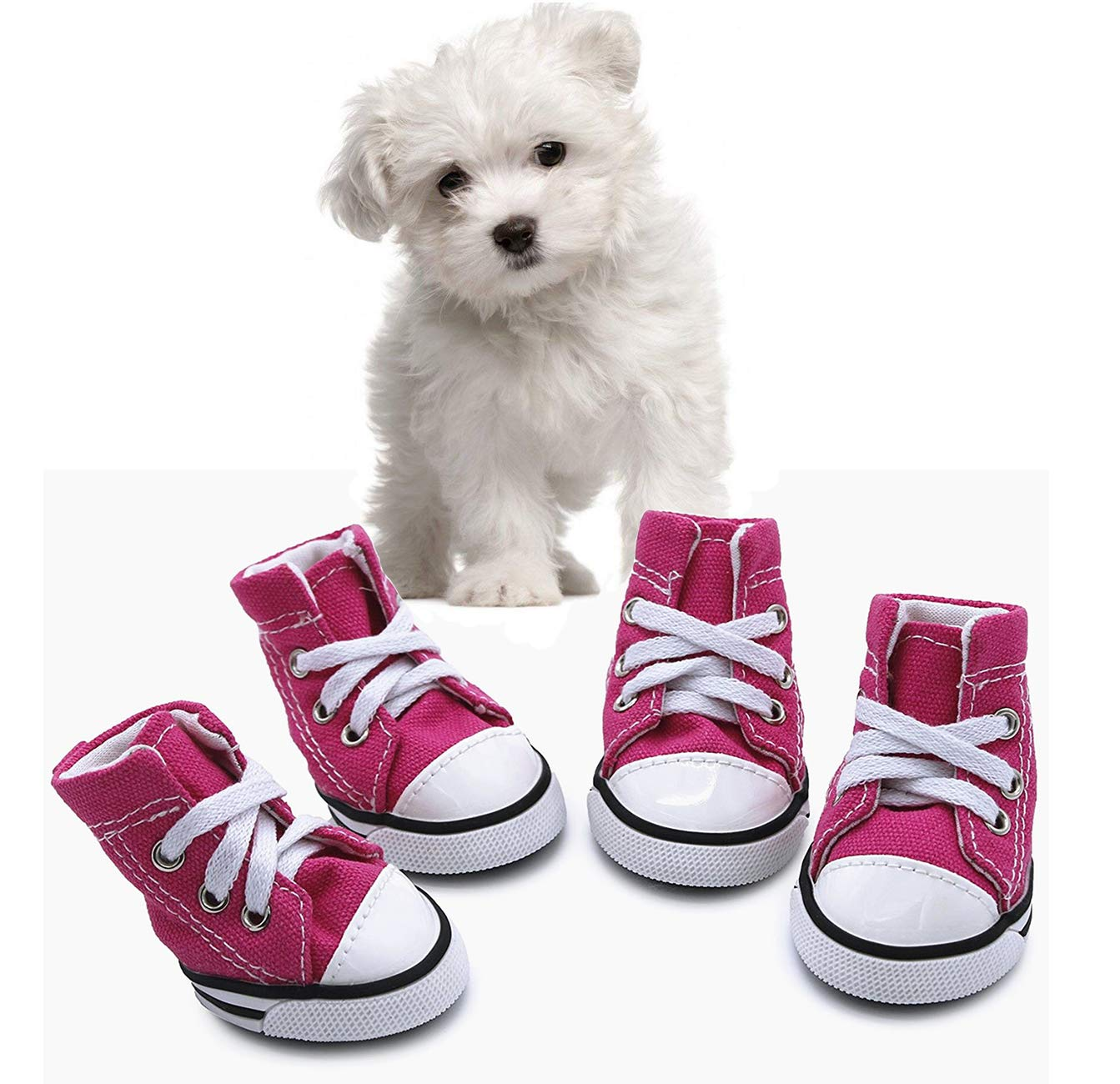 abcGoodefg Pet Dog Puppy Canvas Sport Shoes Sneaker Boots, Outdoor Nonslip Causal Shoes, Rubber Sole+Soft Cotton Inner Fabric (#5(1.892.36), Pink)