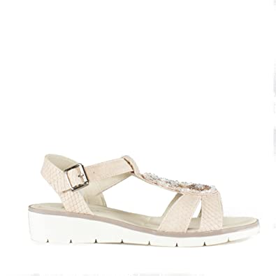 9a7f7ca71 Dr Keller JESS Ladies Embellished Wedge Sandals Nude  Amazon.co.uk ...