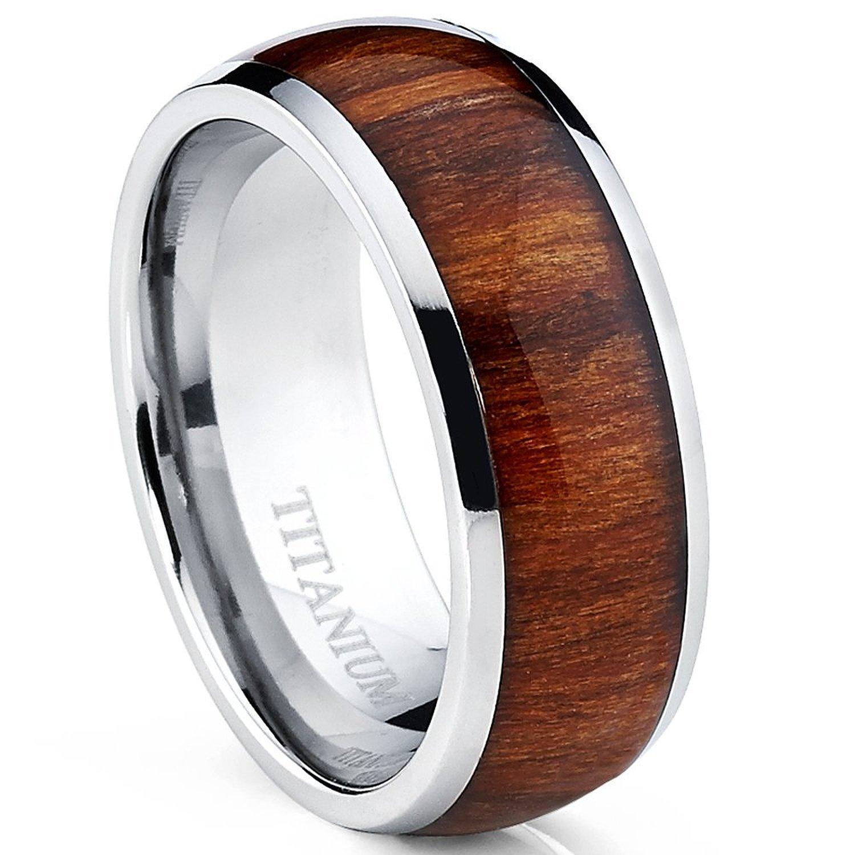 Koa Wood Titanium Men's Ring, Wedding Band, Engagement Ring Genuine Hawaiian Wood - Sizes 9-13 (12)