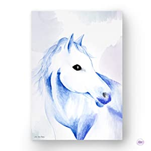 """Horse Watercolor Painting Art Print, Nature Inspired Poster Wall Décor for Nursery, Playroom, Kids Bedroom, Office, Dorm & Home, 11"""" X 17"""", Handmade Artisan Animal Lover Gift Idea"""