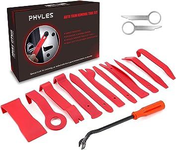 Auto Demontage Werkzeuge Phyles 14 Stück Auto Zierleistenkeile Set Automotive Reparatur Werkzeug Universal Für Entfernung Autotür Türverkleidung Und Platten Rot Auto