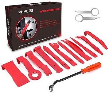 PHYLES 14PCS Coche Herramientas Kit para Desmontar el Audio de Coche, Vehículos Herramienta de Desmontaje