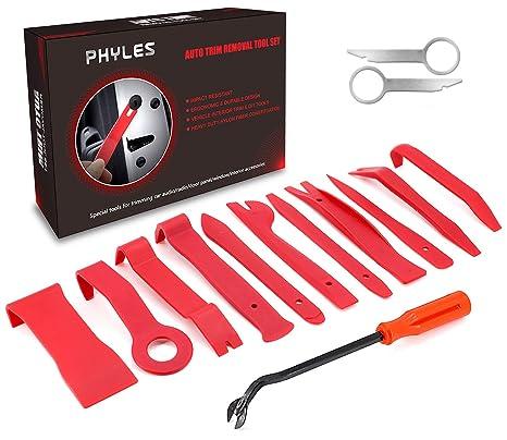PHYLES 14PCS Herramienta de Desmontaje, Coche Herramientas Kit para Desmontar el Salpicadero Radio Coche Panel Frontal (Rojo)