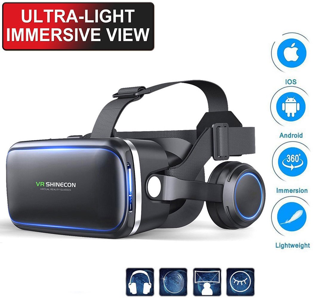 VR SHINECON VR Headset with Adjustable Stereo Headphone - 3d vr Glasses Headsets Virtual Reality Goggles for 3D Videos,Movies&Games,Eye Protected for iPhone X 8/8plus,Samsung,Android Smartphones