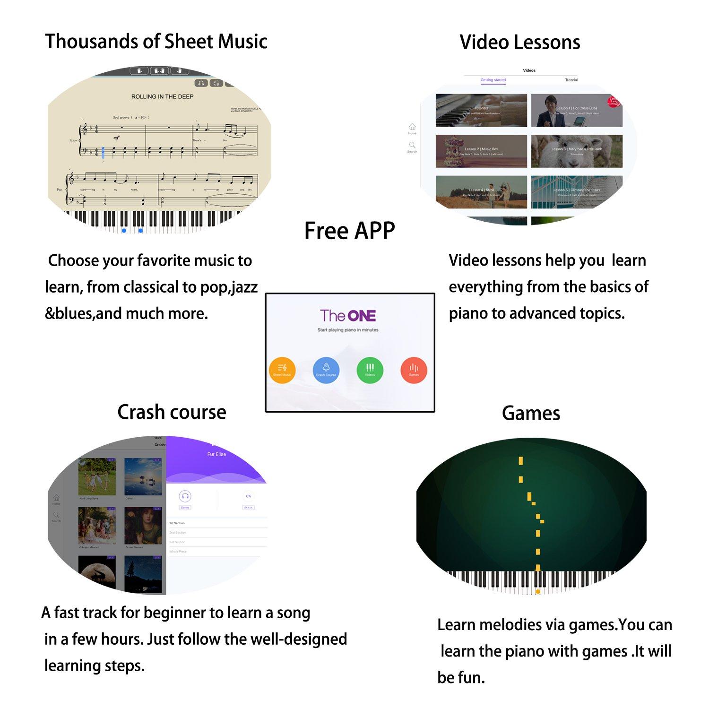 The ONE Smart Piano 61-Key Portable Light Keyboard, USB MIDI Electronic Keyboard Piano - Onyx Black by The ONE Smart Piano (Image #2)