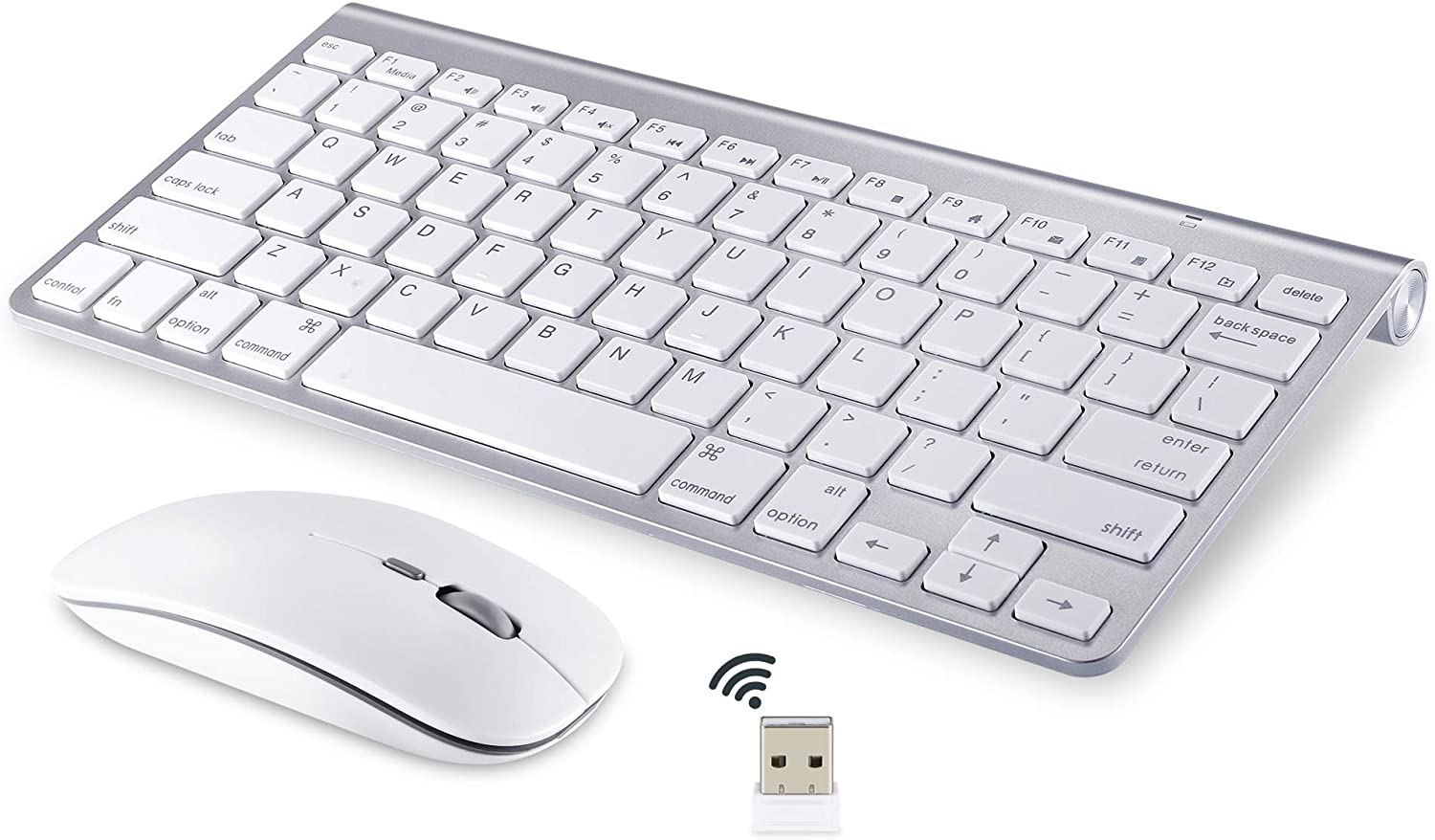 Wireless Keyboard and Mouse Compatible with iMac MacBook Windows Computer and Android Tablets (Renewed)