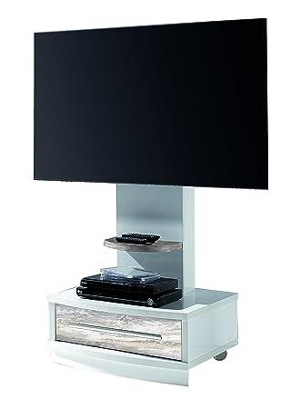 Suenoszzz- 4239 B/V - Mesa TV Mueble Auxiliar En Madera Color Blanco Y Vintage. Incluye Ruedas Y Un Cajón. Medidas: 72X 50 X 130 Cm.: Amazon.es: Hogar