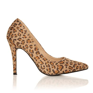 d2737b820854 DARCY Leopard Print Microfibre Stilleto High Heel Pointed Court Shoes Size  UK 3 EU 36