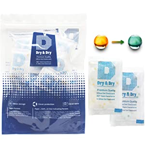Dry & Dry 3 Gram [100 Packets] Orange Mixed Premium Pure Silica Gel Packets Desiccant Dehumidifier - Food Safe Rechargeable Silica Gel Packs Desiccant Packs