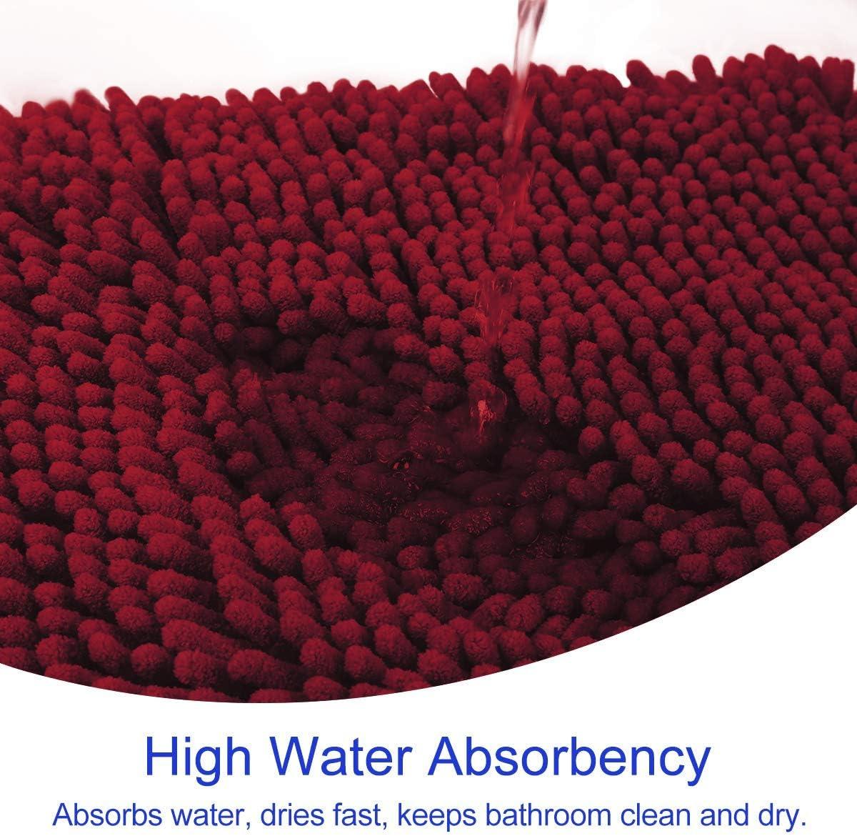 Shower Absorbent Shaggy Bath Rugs /& Slip Resistant Plush Carpets Mats for Tub Bathroom Luxury Soft Chenille Bath Mats Set HOMEIDEAS 2 Pieces Bathroom Rugs Set Grey