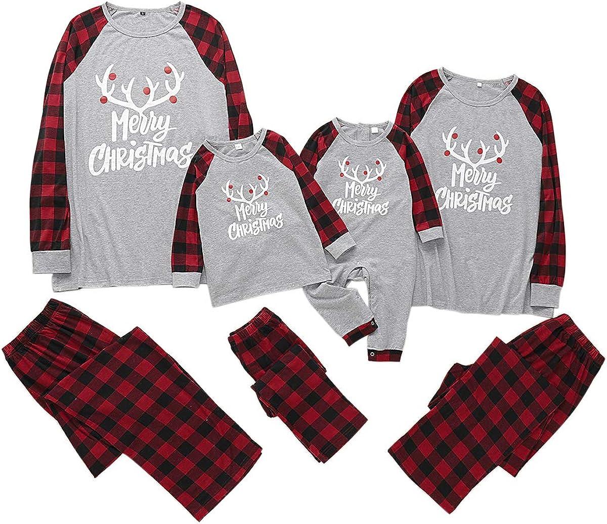 Borlai Pijamas Navidad para Familias Invierno Otoño Top+Pantalones Ropa de Dormir para Mamá Papá Niños Bebé Conjuntos Navideños de Algodón