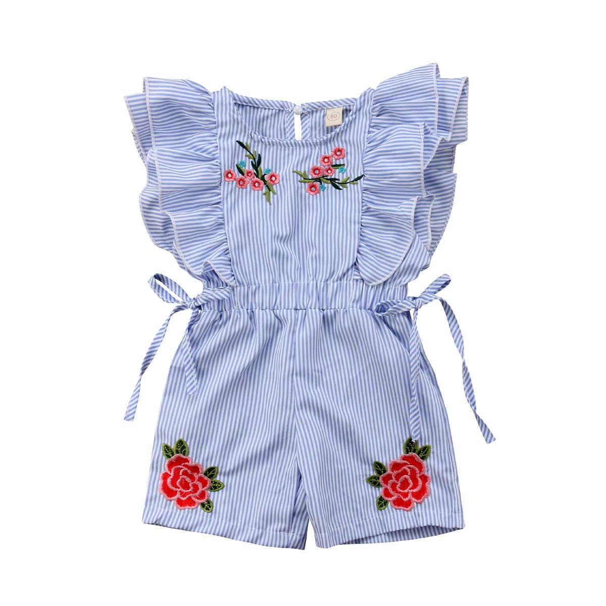citgeett Toddler Kids Baby Girl Button Sleeveless Ruffle Playsuit Jumpsuit Solid Color Bow Romper Summer Clothes (Stripe, 2-3 Years) by citgeett