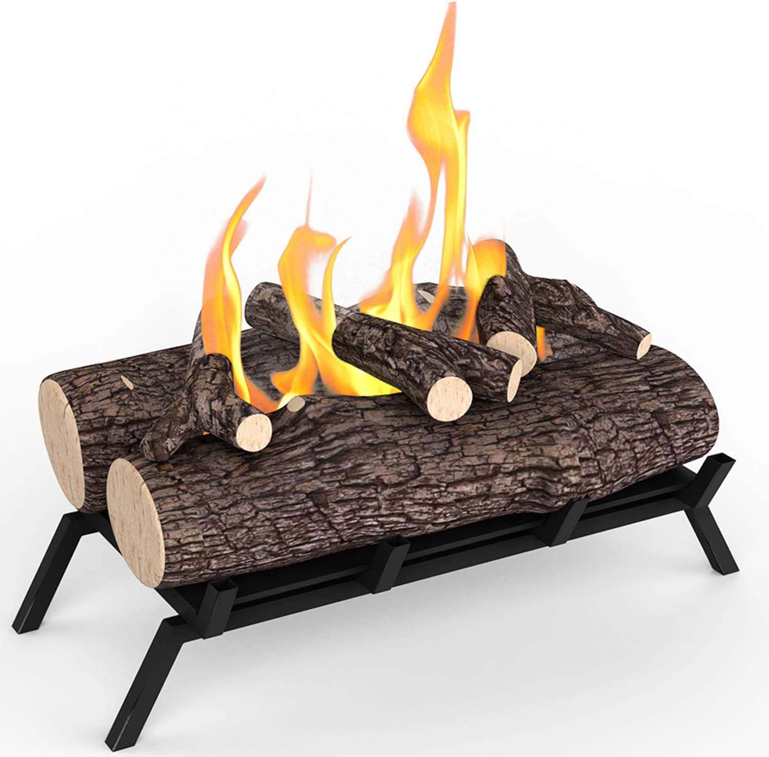 Amazon Com Regal Flame 18 Ethanol Fireplace Grate Log Set With Burner Insert For Easy Conversion From Gas Logs Gel Wood Log Electric Log Electric Fireplace Insert Or Wood Burning Fireplace Insert Oak