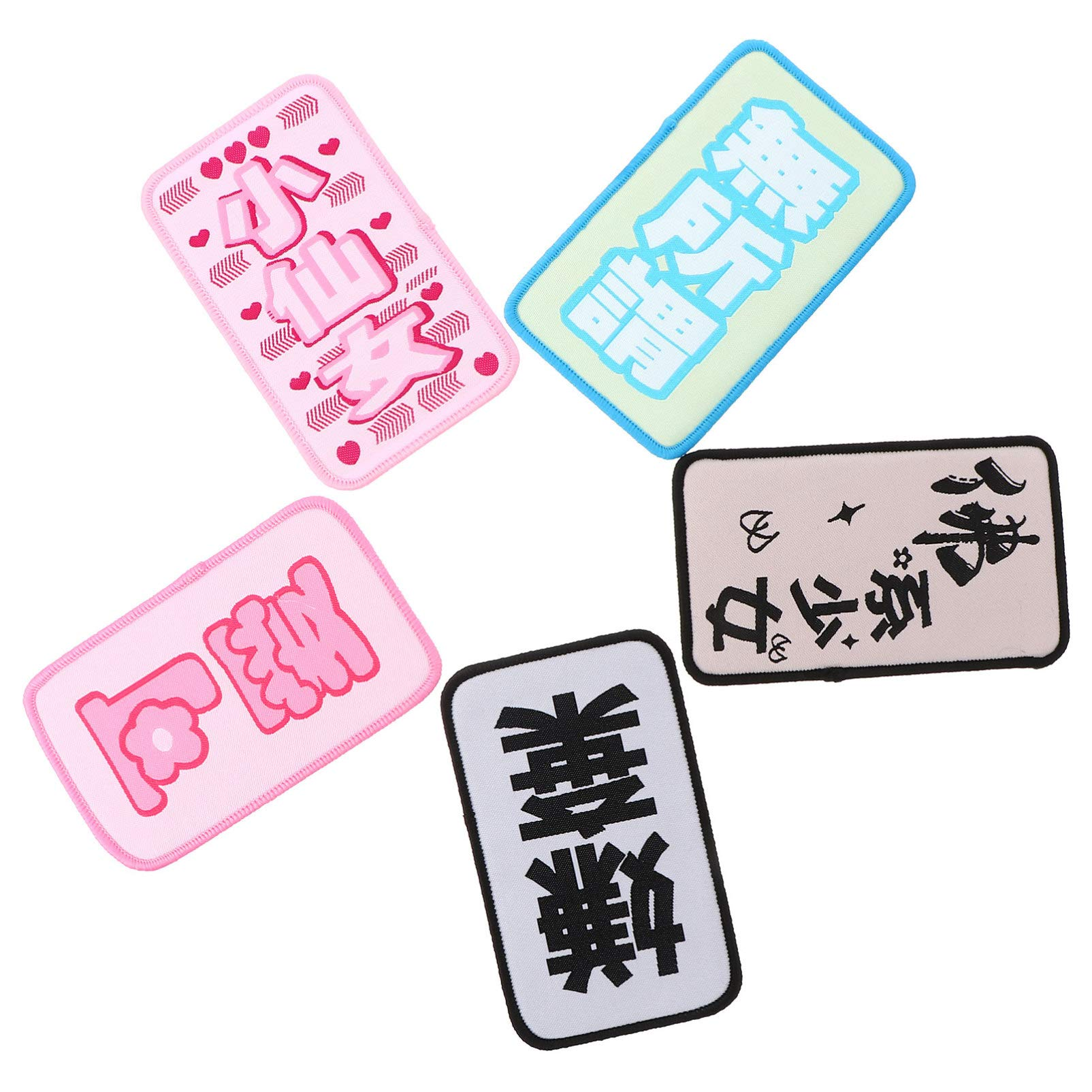 PIXNOR 5pcs Bangs Hair Pad Magic Hair Paste Pad Chinese Character Style Hair Fringe Grippers Hair Sticker Clip for Women Girls