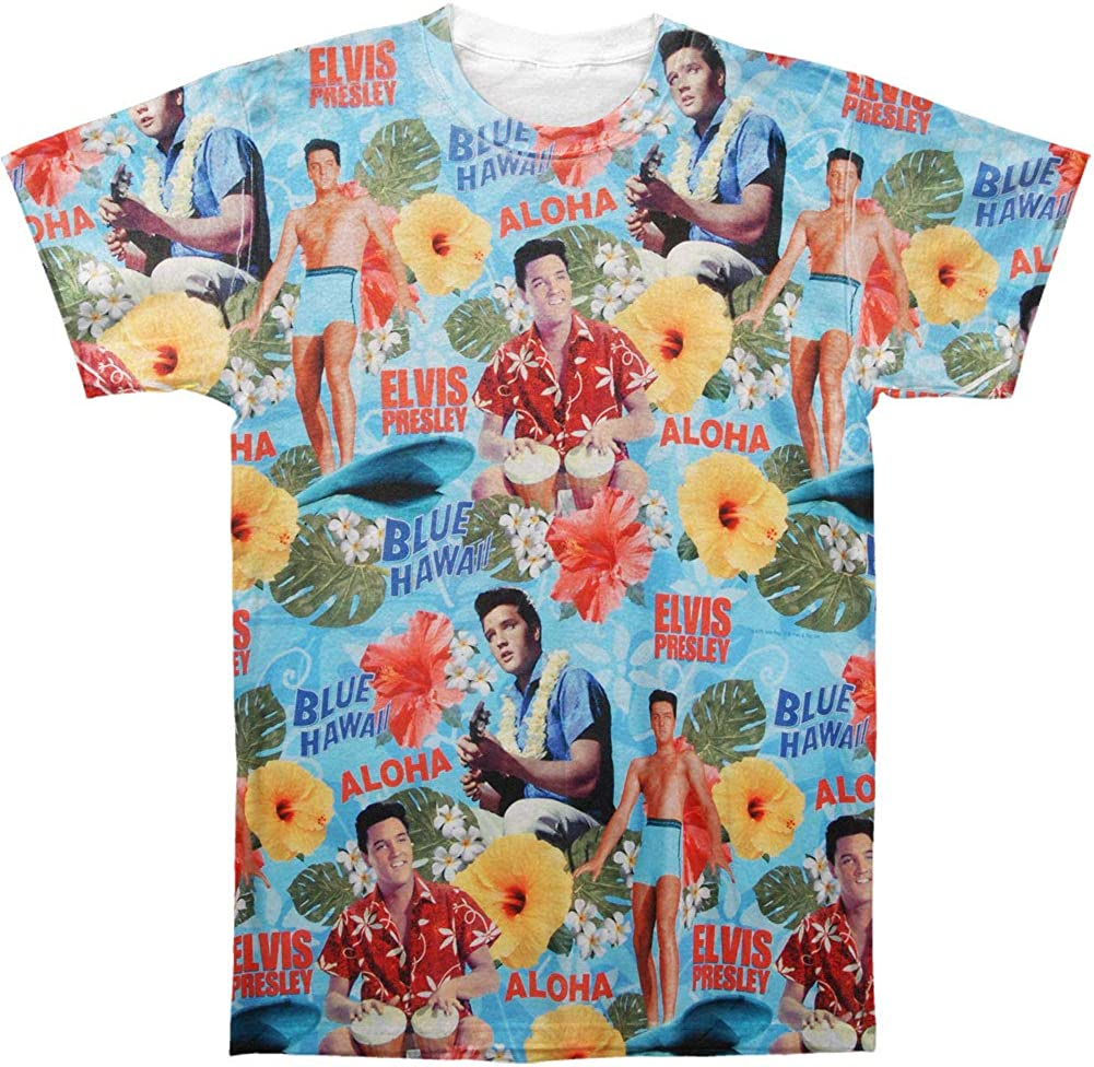 Elvis Presley Men's Surf's Up Sublimation T-Shirt White