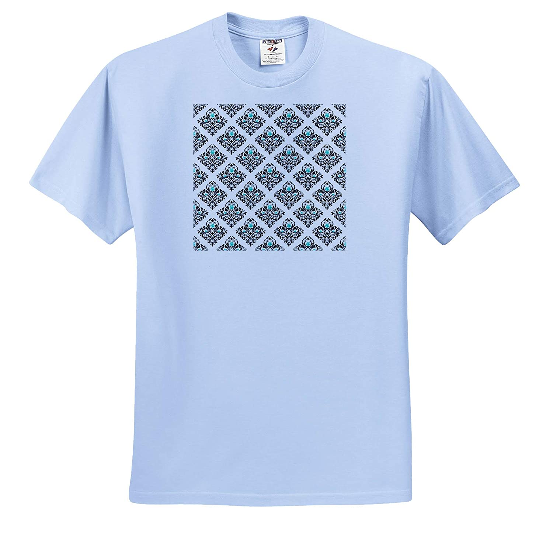 ts/_316283 Fancy Black and Aqua Diamond Rose Damask Pattern Patterns 3dRose Anne Marie Baugh Adult T-Shirt XL