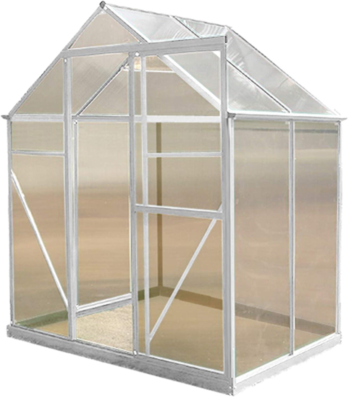 Invernadero de aluminio y policarbonato de 1, 8 x 1, 2 m, marco UV plateado, sin clips con Kit de agua de lluvia de regalo: Amazon.es: Jardín