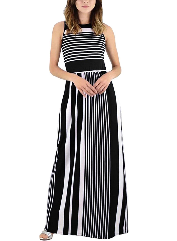 Rainlover Women's Summer Sleeveless Striped Pockets Flowy Casual Long Maxi Dress (Large, Black)