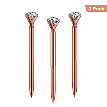 c1d7cb0070 ETCBUYS 3 Pack Diamond Pens Rose Gold - Gold fancy pens for women, pen with
