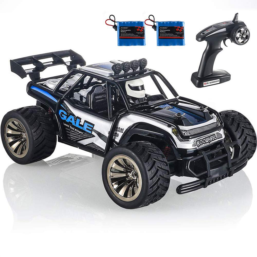 RC Cars KOOWHEEL 1:16 Scale 2WD Off Road Remote Control Cars with 2 Rechargeable Battery 2.4GHz Radio Remote Control Truck Monster High Speed Crawler USB Charger RC Car for Adults and Kids(Blue) by KOOWHEEL (Image #1)
