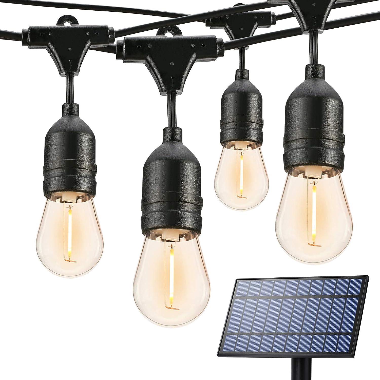 BrizLabs Outdoor Solar String Lights, 39ft Hanging Solar Patio Lights with 16 LED Shatterproof Bulbs, S14 Waterproof Solar String Lights 4 Modes for Patio Garden Backyard Gazebo Porch Balcony, 2700K