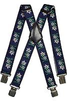 Bretelles motif Edelweiss, entièrement réglable Extra Fort avec 4 Clips - 4cm