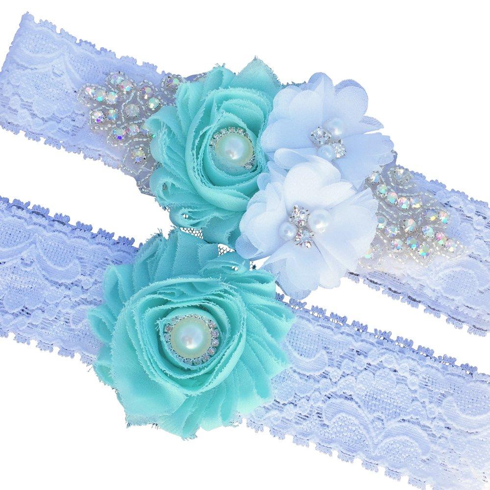 Mint Rhinestone Floral Wedding Garter Set