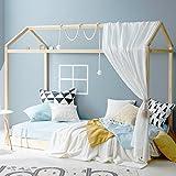 LOWYA(ロウヤ) ベッドフレーム ベッド ハウスベッド 天然木ベッド キッズ 子供用 シングルベッド 家型 海外風 フレームのみ ナチュラル