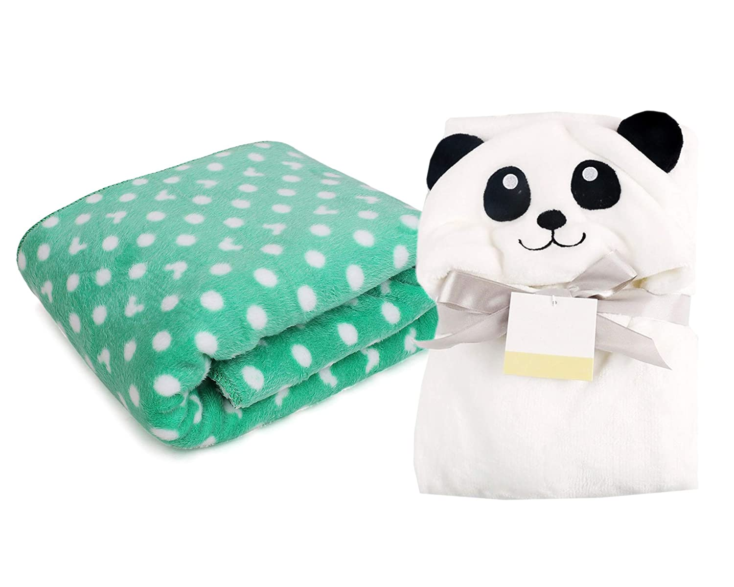 My Newborn Combo Baby Blanket and Polka Wrapper, Green Spread Panda (Pack of 2)