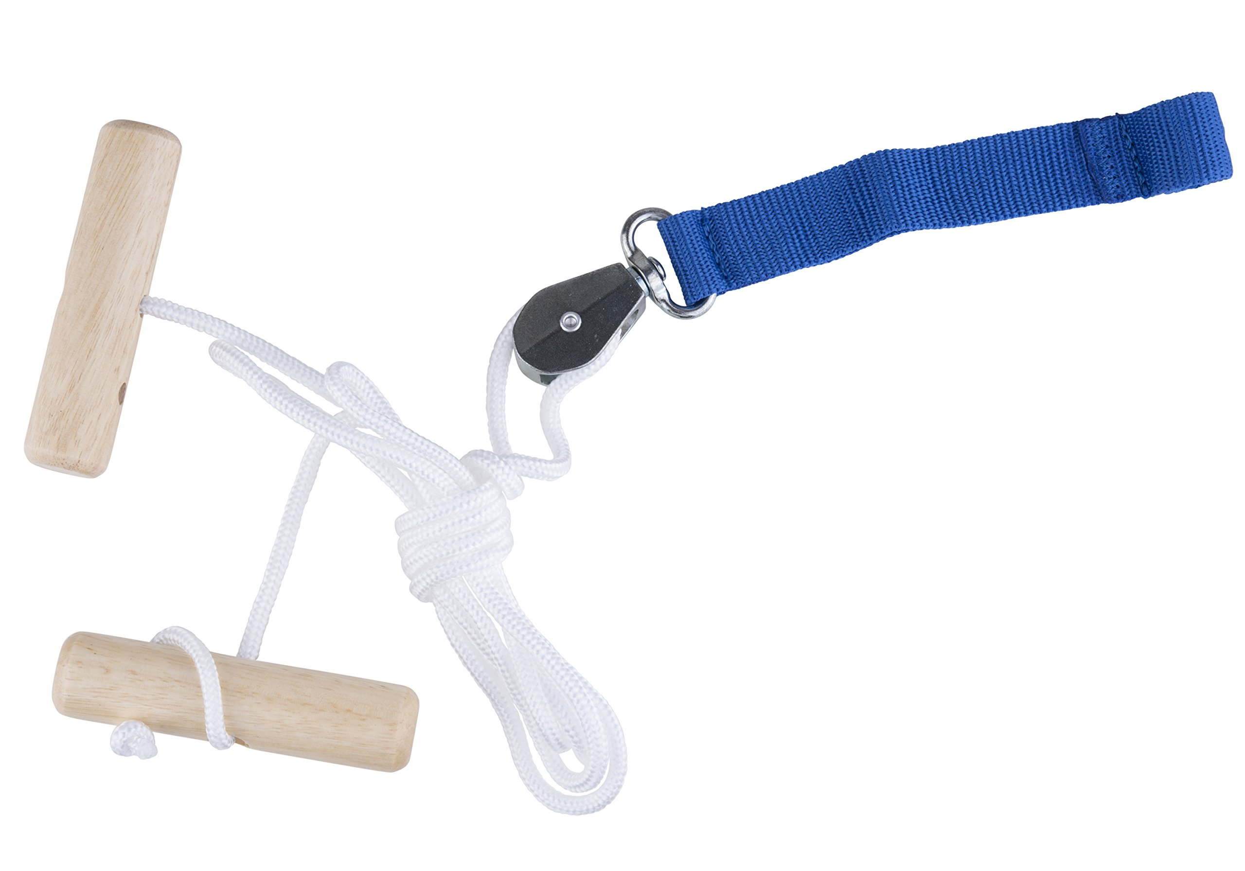 Overhead Overdoor Shoulder Pulley Therapy Exercise System - Wooden Handles With Webbing Door Strap