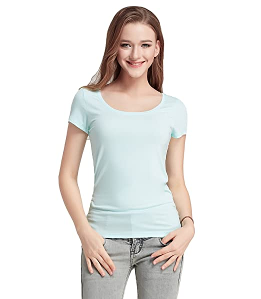 Liang Rou Camiseta de Licra Modal elástica nervada con Cuello Redondo para Mujer