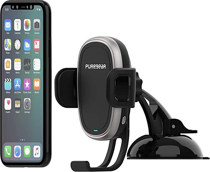 Self Gripping System with QC 3.0 Car Charger PureGear AutoGrip 10W Wireless Car Charger Black 62656PG Dash Mount for Qi Enabled Phone 3FT USB C Charging Cable