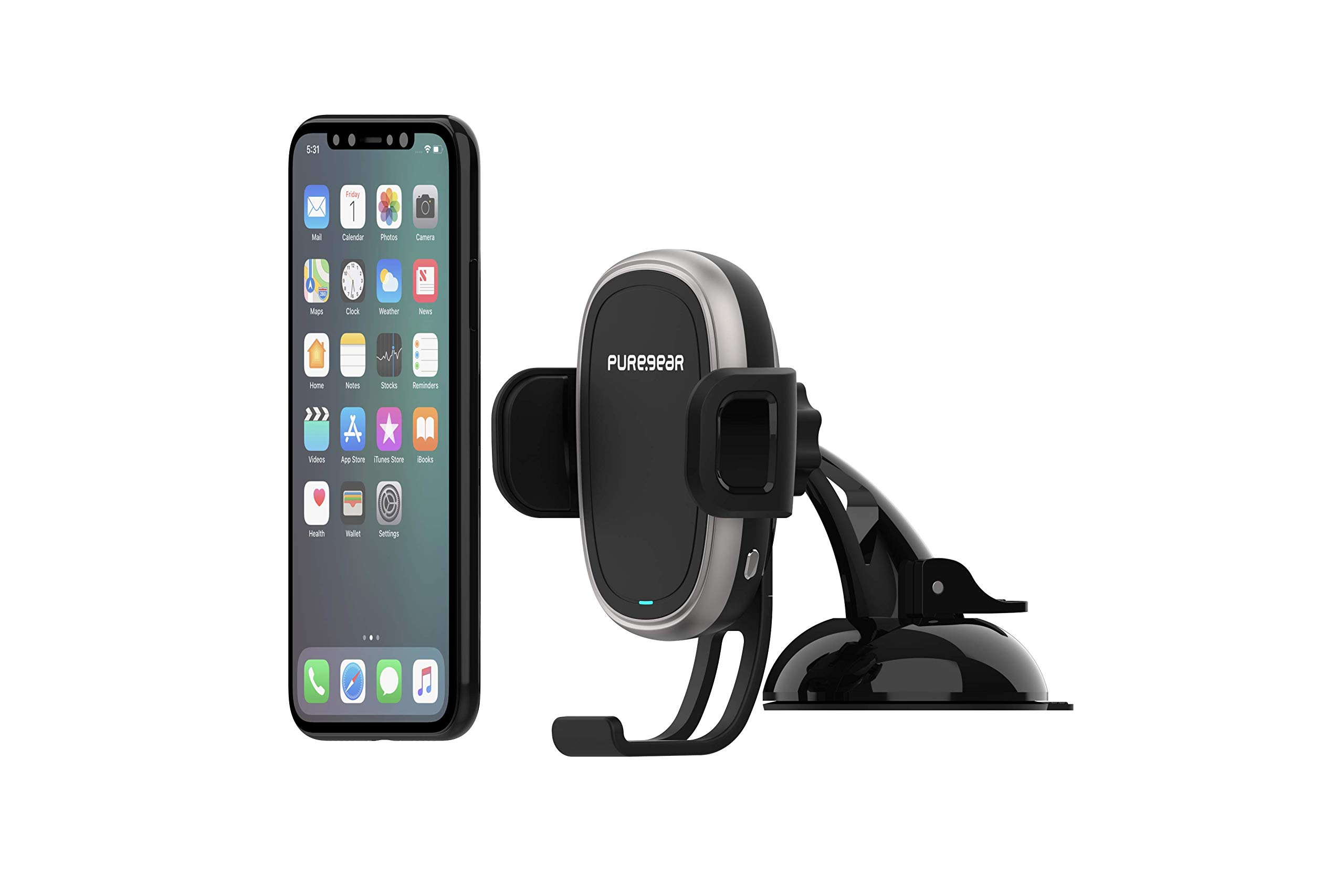 PureGear AutoGrip 10W Wireless Car Charger, Dash Mount for Qi Enabled Phone, Self Gripping System, with QC 3.0 Car Charger, 3FT USB C Charging Cable, Black