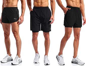 Pudolla Men's Running Shorts for Gym Workout Lightweight Athletic Training Shorts for Men(Black Medium)