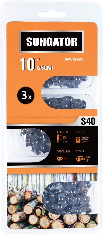 "SUNGATOR 3-Pack 10 Inch Chainsaw Chain SG-S40, 3/8"" LP Pitch - .050"" Gauge - 40 Drive Links, Fits Remington, Sun Joe, Craftsman, Poulan, Worx, Ryobi"