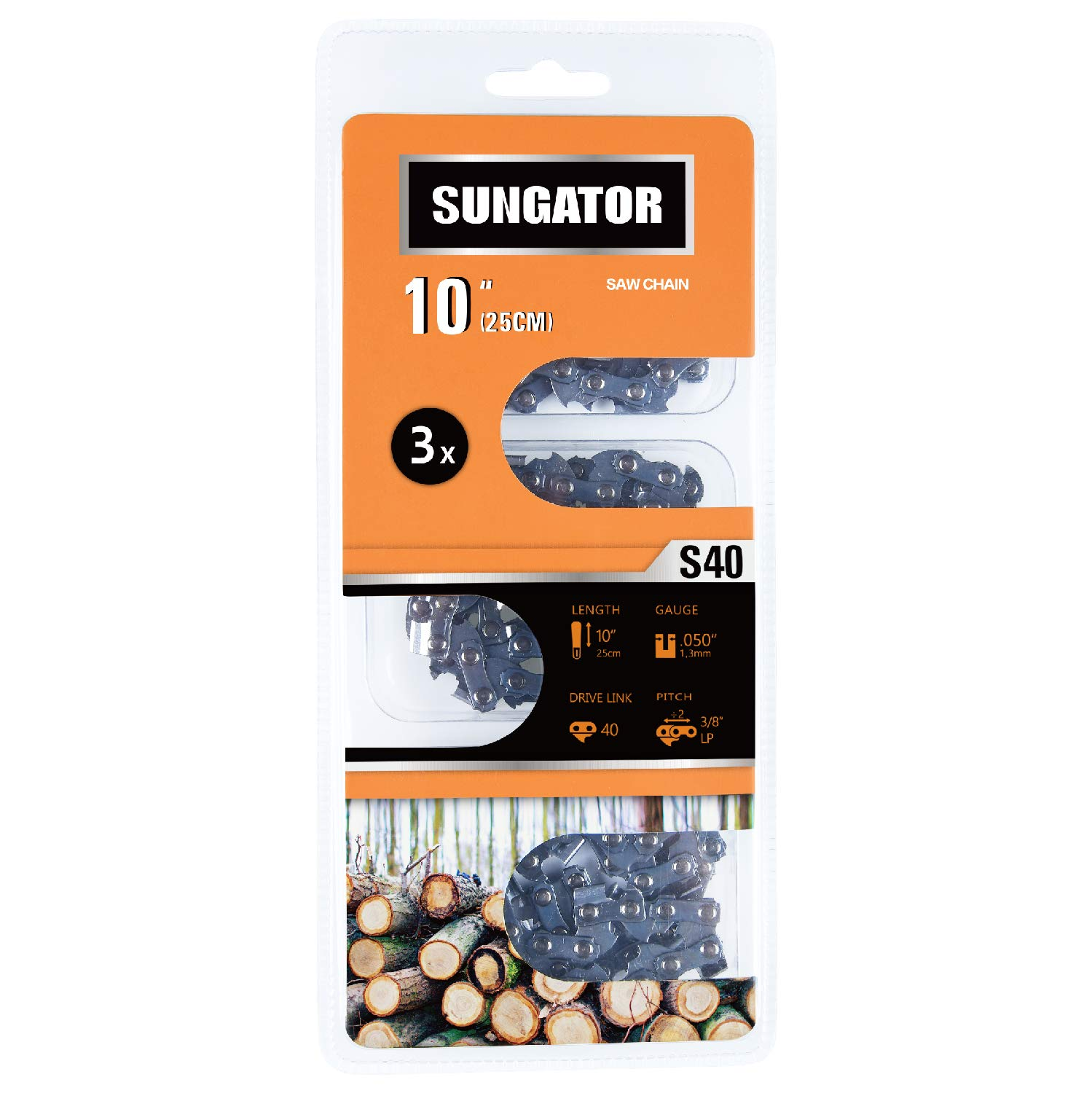 SUNGATOR 3-Pack 10 Inch Chainsaw Chain SG-S40, 3/8'' LP Pitch - .050'' Gauge - 40 Drive Links, Fits Remington, Sun Joe, Craftsman, Poulan, Worx, Ryobi by SUNGATOR