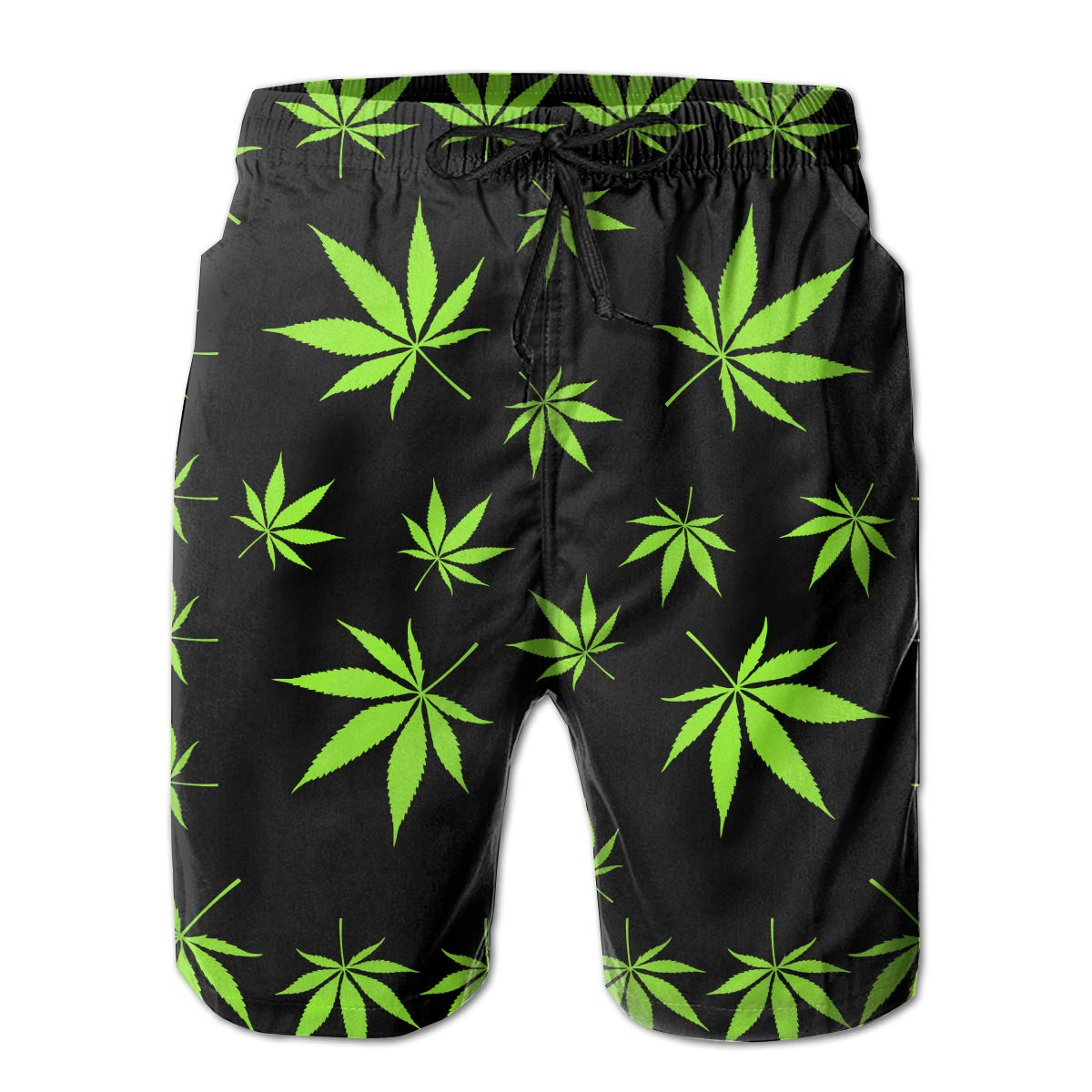 MikonsuPot Weed Leaves Cannabis Mens Beachwear Summer Holiday Swim Trunks