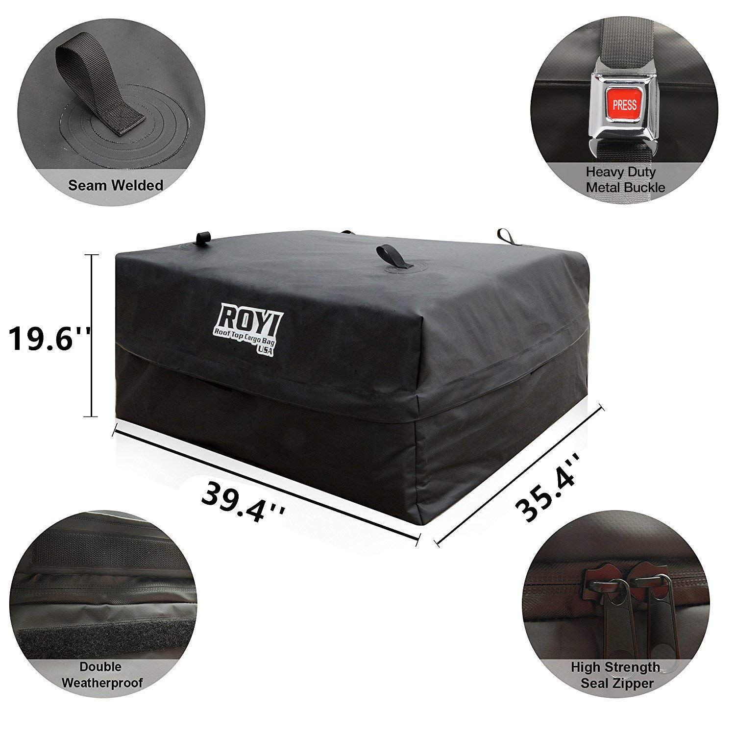 100/% Waterproof Roof Cargo Bag 18.5 Cubic Ft Dual Seam with Heavy Duty Metal Buckle Straps Top Carrier Storage Box Bonus 1 Rooftop Protective Mat Fit for Cars with//Without Racks(4 Straps) BOVN 4350438891