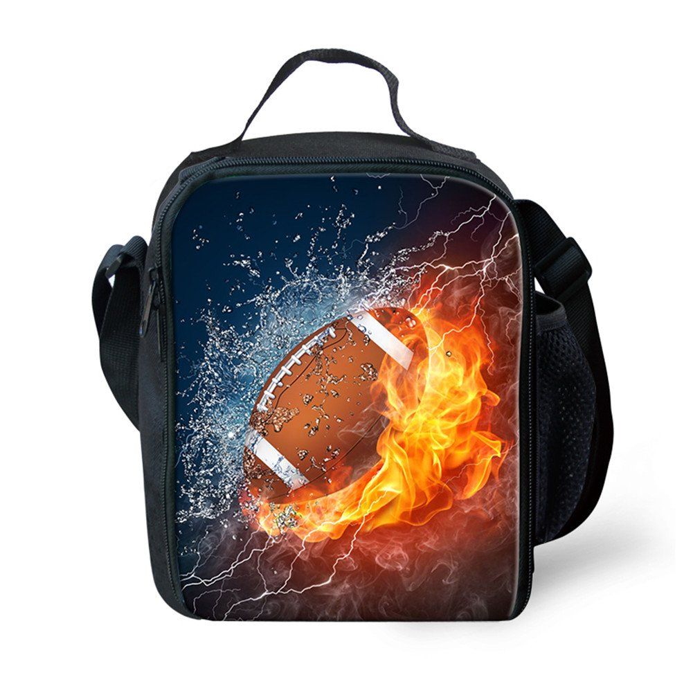 FOR U DESIGNS Children Insulated Lunch Bag Cool Football Lunchbox Food Containers Cooler Boxes for School Work