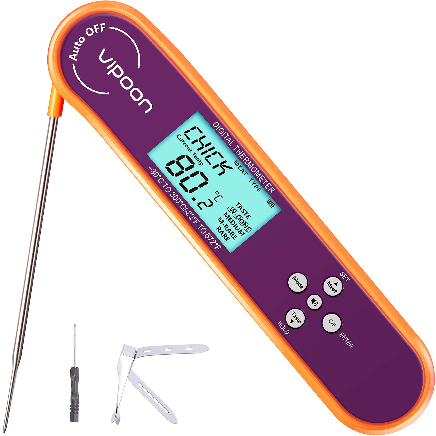 【2021 New Version】Vipoon Digital Meat Thermometer,Instant Read Cooking Food Kitchen Thermometer with Tri-color Indicator, Alarm Voice Prompts Backlight for Candy,Oil Deep Fry BBQ and Grill Smoker