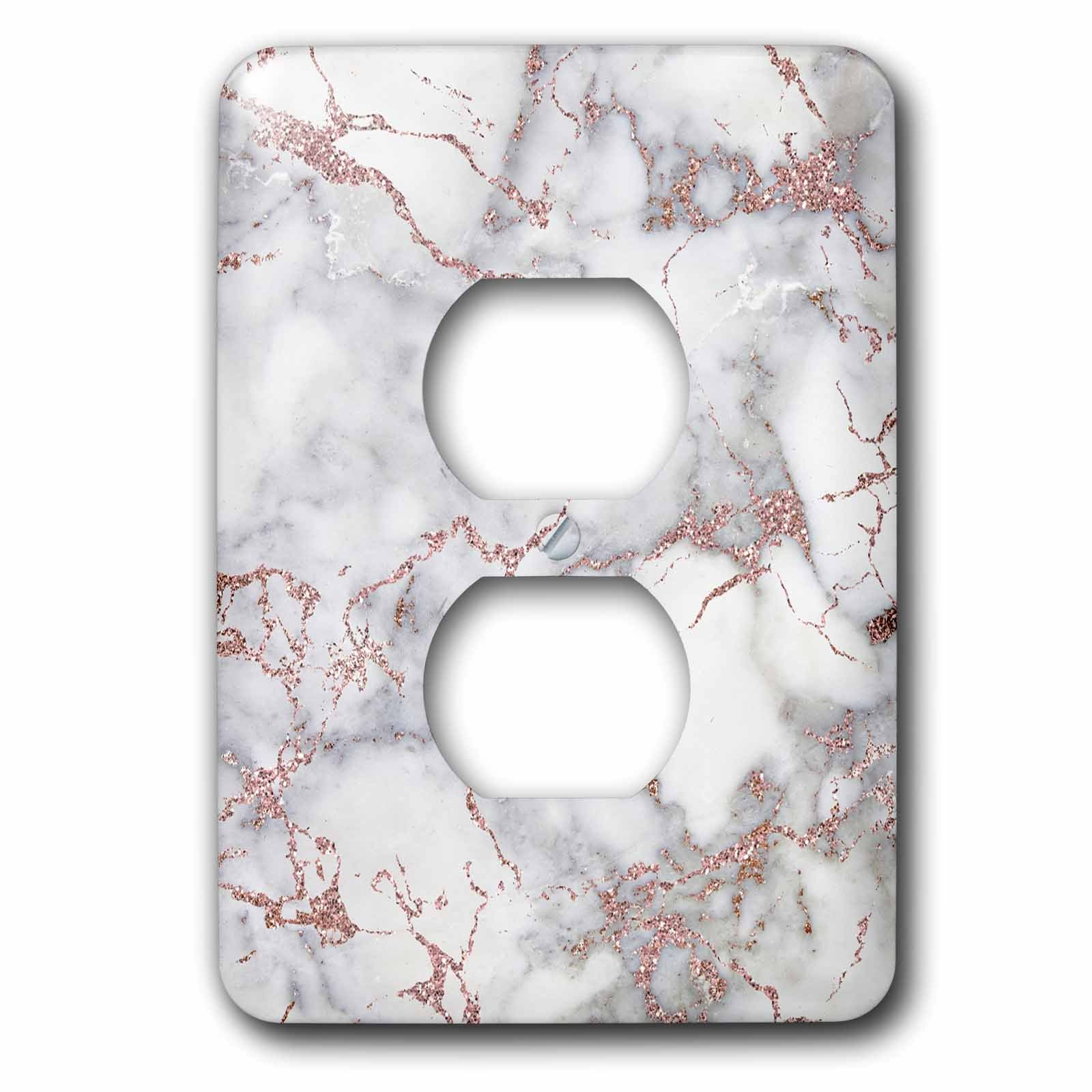 3dRose Uta Naumann Faux Glitter Pattern - Image of Shiny Luxury Trendy Rose gold Glitter Marble Agate Quartz - Light Switch Covers - 2 plug outlet cover (lsp_275086_6)