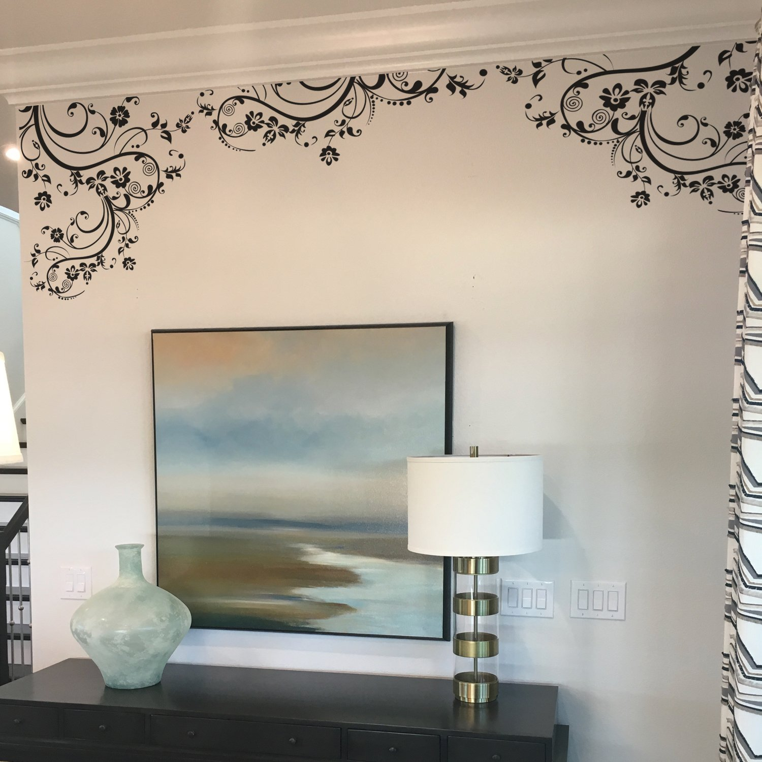 Flower Decals for Nursery, Living Room, Bedroom, Girls Room, Kids Room. 100'' x 29'' (Black). Edge Wall Decal. Removable Wall Decal Sticker.