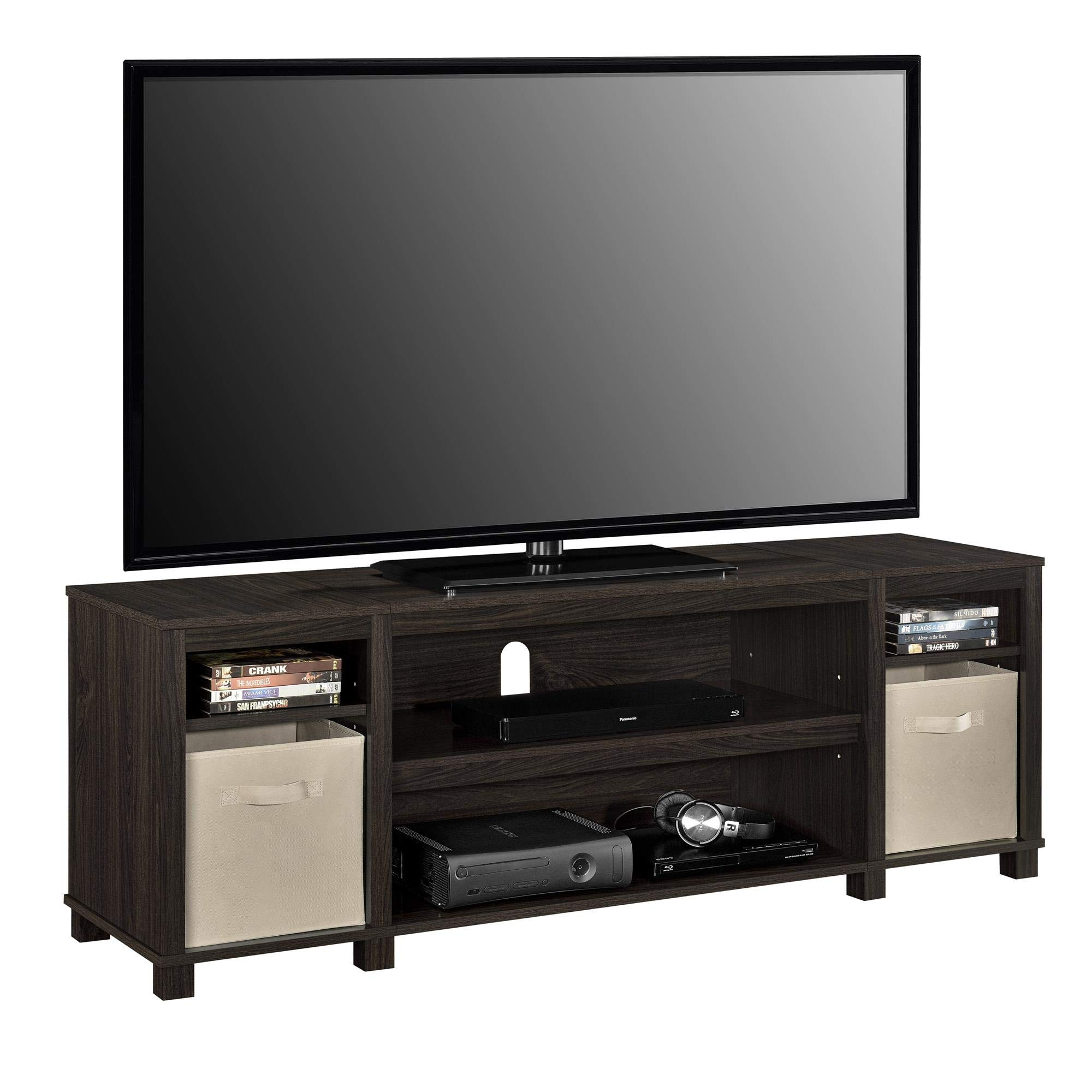 Ameriwood Basics Lost Hill TV Stand with 2 Bins for TVs up to 60'' (Espresso)