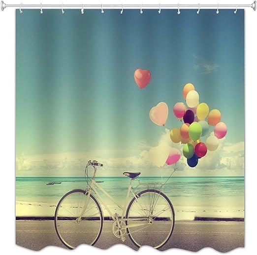 A.Monamour Paisaje De La Playa Bicicleta con Globos Cielo Azul Mar ...